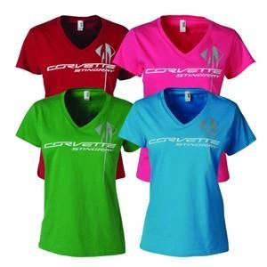 C7 Corvette Stingray - Ladies Triple Mark V-Neck Tee. Colors: Independence Red, Green Apple, Caribbean Blue and Hot Pink.