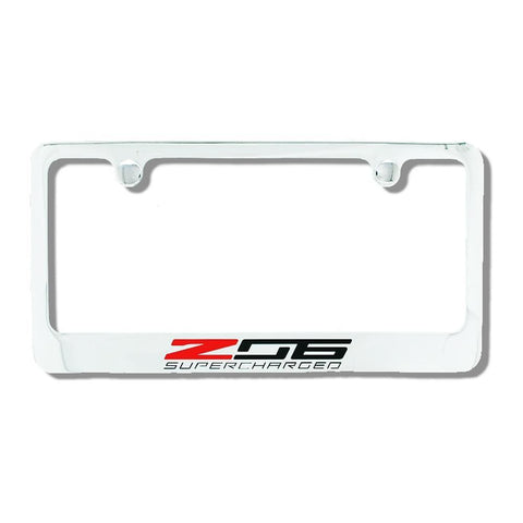C7 Corvette Stingray Chrome License Plate Frame w/Z06 Supercharged Script,Exterior