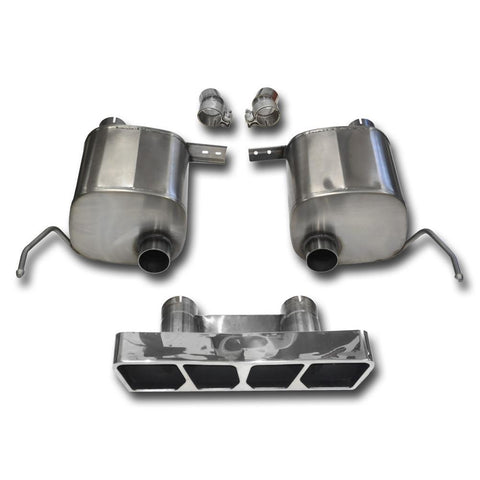 "Corsa Corvette Exhaust System (14765): 2.75"" Polished Poly Tip Corsa Sport Valve-Back Performance Exhaust For C7 Corvette Stingray"