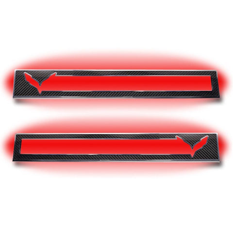 C7 Corvette Stingray Door Sill Carbon Fiber Overlay with Polished Trim & LED Lighting Kit,Interior