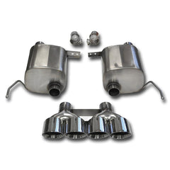 "Corsa Corvette Exhaust System (14764/14764BLK): 2.75"" Quad 4.50"" Round Tip Corsa Sport Valve-Back Performance Exhaust For C7 Corvette Stingray"