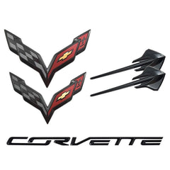 C7 Corvette Stingray Genuine GM Emblems - 5pc Set : Carbon Flash