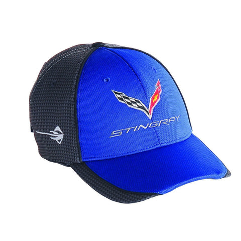 C7 Corvette Stingray Hat/Cap - Embroidered - Carbon Fiber Pattern : Blue