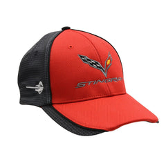 C7 Corvette Stingray Hat/Cap - Embroidered - Carbon Fiber Pattern : Red