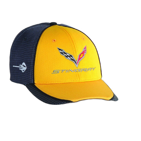 C7 Corvette Stingray Hat/Cap - Embroidered - Carbon Fiber Pattern : Yellow,Apparel