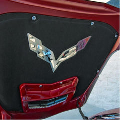 C7 Corvette Stingray Hood Panel Badge - Crossed Flags: Polished/Brushed Stainless Steel