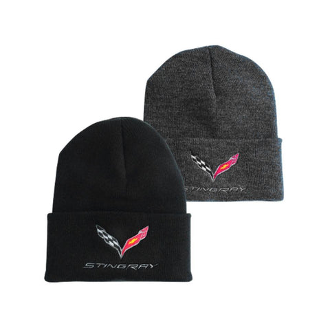 C7 Corvette Stingray Knit Pullover Beanie with Cuff