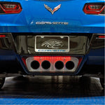 "C7 Corvette Stingray License Plate Frame - Chrome w/Stainless Steel Overlay & Carbon Fiber ""CORVETTE"" Script,Exterior"