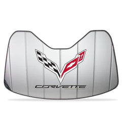C7 Corvette Stingray Logo Accordion Style Sunshade - Insulated Silver