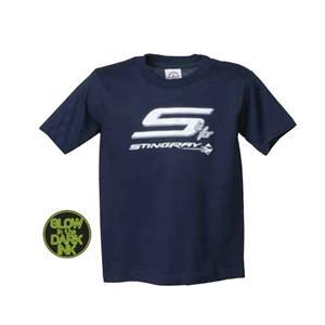 C7 Corvette Stingray Logo Youth Tee - Glow-in-the-Dark : Navy