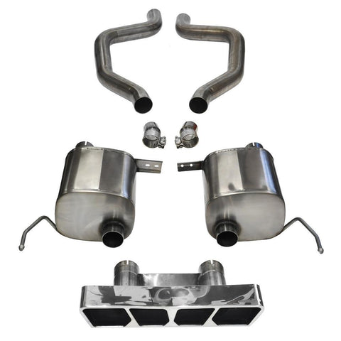 "Corsa Corvette Exhaust (14767): 2.75"" Polished Poly Tip Extreme Axle-Back, Quad Center Rear Exit Exhaust System For C7 Corvette Z06"
