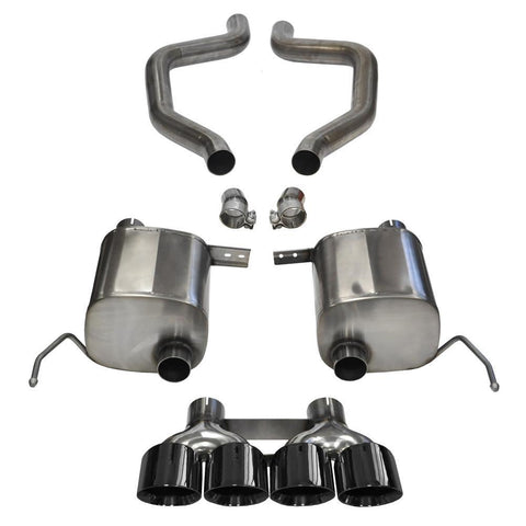 "Corsa Corvette Exhaust (14766BLK): 2.75"" Quad 4.50"" Round Black Tip Extreme Axle-Back, Single Center Rear Exit Exhaust System For C7 Corvette Z06"