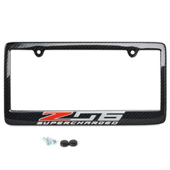C7 Z06 Corvette Z06 Supercharged License Plate Frame - Carbon Fiber