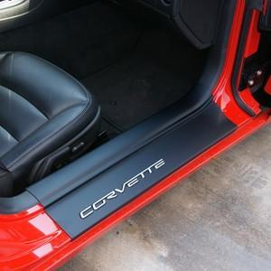 Corvette - Door Sill Ease/Protector - Inner Door Sill Guards w/Corvette Script : 2005-2013 C6, Z06, Grand Sport & ZR1,Interior