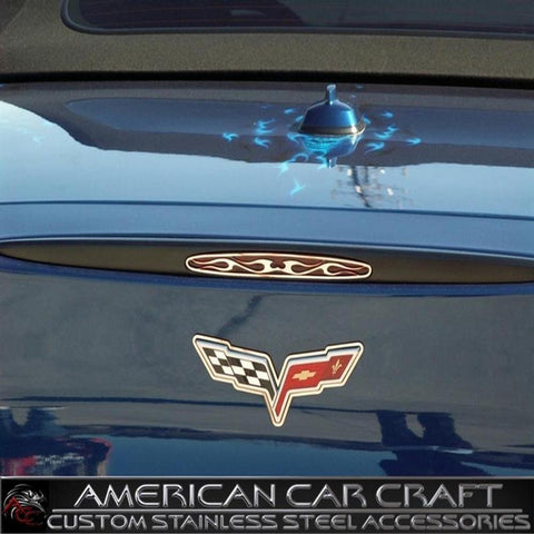 Corvette 5th Brake Light Trim with Flames - Polished Stainless Steel : 2005-2013 C6, Z06, ZR1, Grand Sport