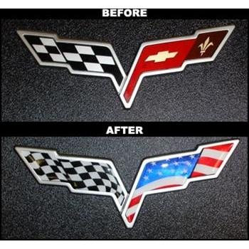Corvette American Flag Emblem Overlay 2 Pc  Kit (05-13 C6/C6 Z06/ZR1/GS)