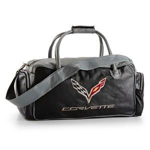 Corvette Black and Grey Duffel Bag with C7 Crossed Flags Logo