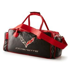 Corvette Black and Red Duffel Bag with C7 Crossed Flags Logo,Accessories