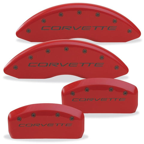Corvette Brake Caliper Cover Set (4) - Body Color Matched with Black Bolts and Script : 1997-2004 C5 & Z06