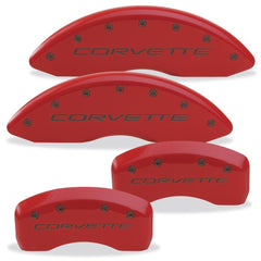 Corvette Brake Caliper Cover Set (4) - Body Color Matched with Black Bolts and Script : 2005-2013 C6 only