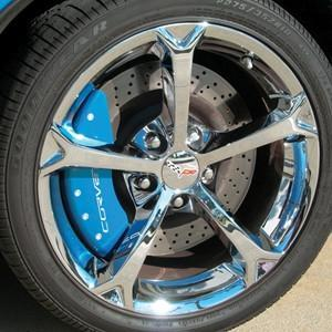 Corvette Brake Caliper Cover Set (4) - Carlisle Blue : 2006-2013 C6Z06 & Grand Sport Only with White Bolts and Script,Brakes