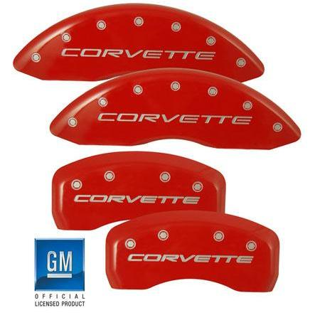 Corvette Brake Caliper Cover Set (4) : 2005-2013 C6 only,[Red With Silver,Brakes
