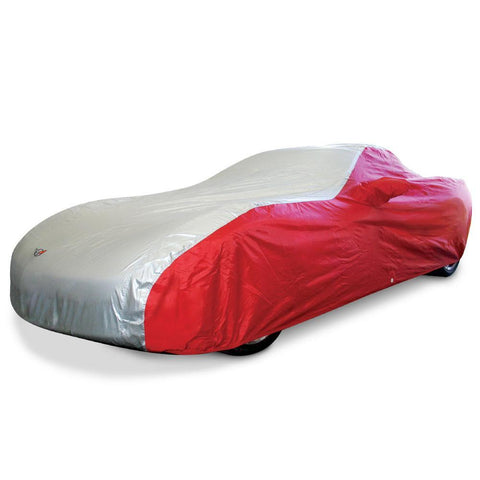 Corvette Car Cover - Two Tone with C5 Emblem Red/Silver (97-04 C5)