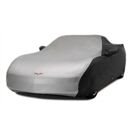 Corvette Car Cover - Two Tone with C6 Embroidered Logo (05-13 C6) - Black/Silver,Car Care
