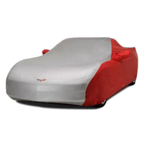 Corvette Car Cover - Two Tone with C6 Embroidered Logo (05-13 C6) - Red/Silver,Car Care