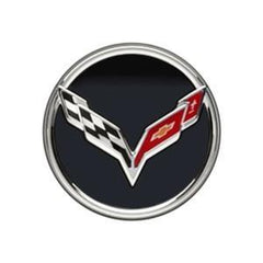 Corvette Chrome Accented Center Cap w/Crossed Flags Logo - Black : 2014 C7