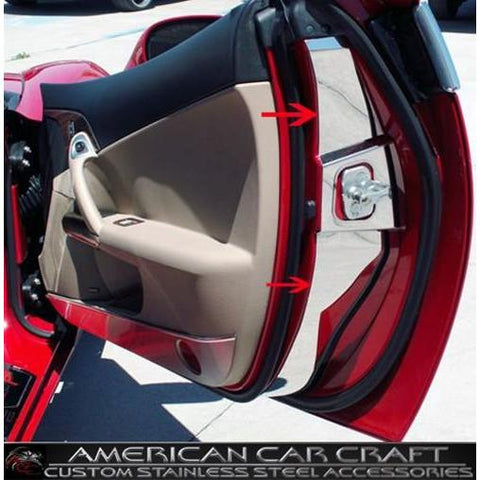 Corvette Door Jam Covers - Polished Stainless Steel : 2005-2013 C6