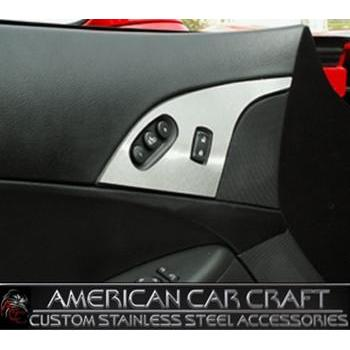 Corvette Door Lock Trim Plate Covers with Option Button - Brushed Stainless Steel : 2005-2013 C6,Interior