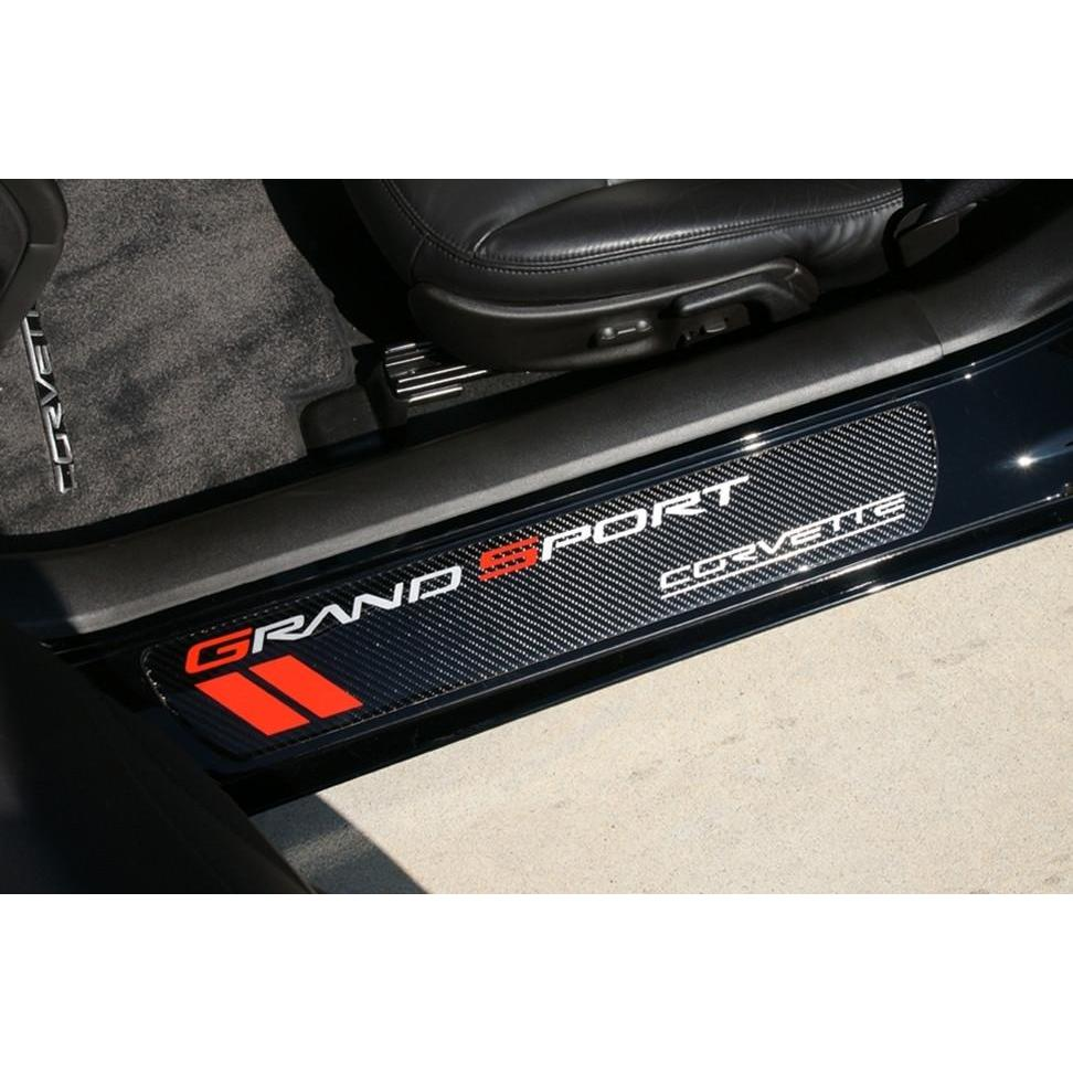 corvette door sill plates carbon fiber with grand sport