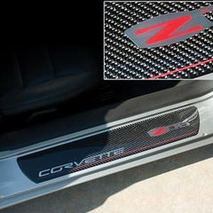 Corvette Door Sill Plates - Carbon Fiber with Z06 505HP Logo : 2006-2013 Z06