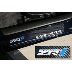 Corvette Door Sill Plates - Carbon Fiber with ZR1 Logo 2009-2013