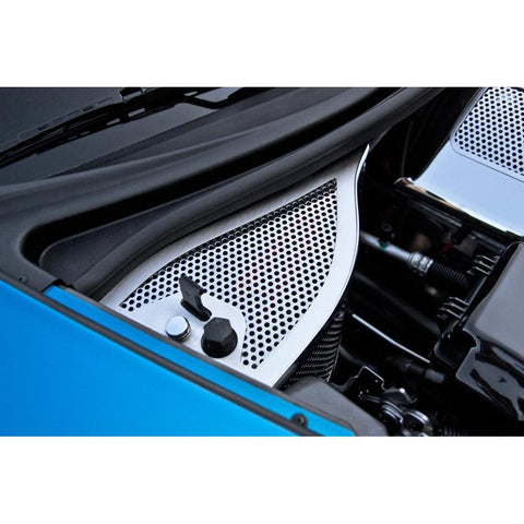 Corvette Dry Sump Oil Tank Cover - Perforated or Polished Stainless Steel : 2006-2013 C6 Z06, Grand Sport