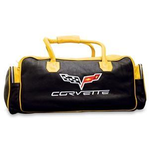 Corvette Duffel Bag Leather with C6 Logo Yellow & Black