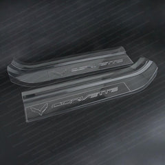 Corvette Embossed Clear Door Sill Protectors : C7 Stingray, Z51, Z06