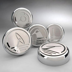 Corvette Engine Cap Set Executive Series Chrome/Brushed Overlay : 2005-2013 C6