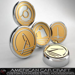 Corvette Engine Cap Set Executive Series Polished/Gold Overlay : 1997-2013 C5,C6,Z06