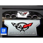 Corvette Exhaust Plate with C5 Emblem - Billet Aluminum Chrome (97-04 C5 / C5 Z06),Exhaust