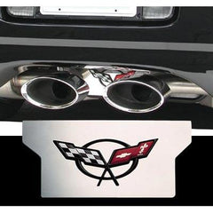 Corvette Exhaust Plate with C5 Emblem - Stainless Steel (97-04 C5 / C5 Z06)