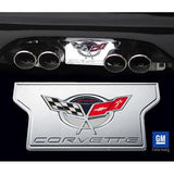 Corvette Exhaust Plate with Commemorative Emblem - Billet Chrome (2004 C5 / C5 Z06),Exhaust