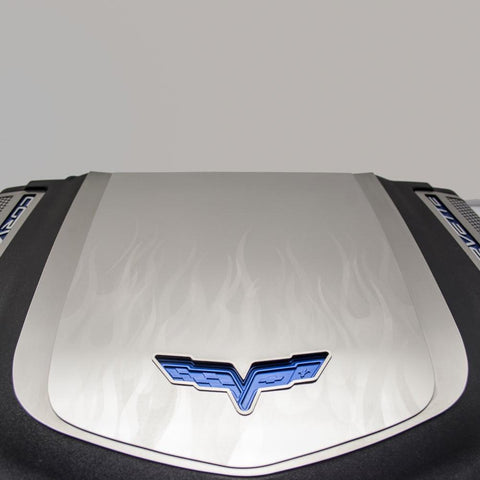 Corvette Flame Etched Engine Shroud Cover - Polished Stainless Steel : 2009-2013 ZR1