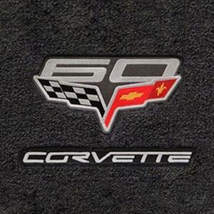 Corvette Floor Mats - 60th Anniversary above Flags w/Silver Corvette Script - Ebony- Set of 2 : 2007.5-2013 C6, Z06, Grand Sport & ZR1