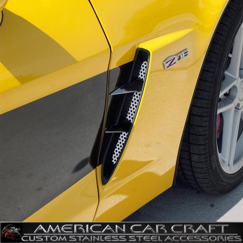 Corvette Front Fender Duct Grille Overlay with Spears - Perforated Stainless Steel : 2006-2013 Z06