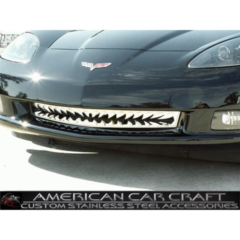 Corvette Front Lower Grille Shark Tooth Style - Polished Stainless Steel : 2005-2012 C6
