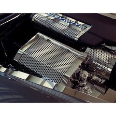 Corvette Fuse Box Cover - Perforated Stainless Steel : 2005-2013 C6,Z06,ZR1, Grand Sport
