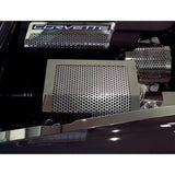 Corvette Fuse Box Cover - Perforated Stainless Steel : 2005-2013 C6,Z06,ZR1, Grand Sport,Engine