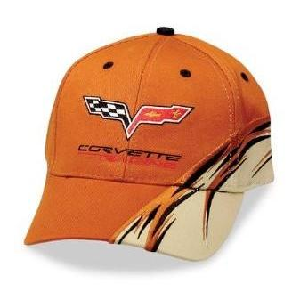Corvette Hat : Orange Racing Flash : 2005-2013 C6 Logo
